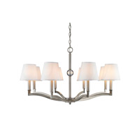 Waverly 8 Light 34 inch Pewter Chandelier Ceiling Light in Classic White Shade