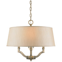 Waverly 3 Light 19 inch Aged Brass Semi-Flush Mount Ceiling Light in Silken Parchment Shade, Antique Brass, Convertible