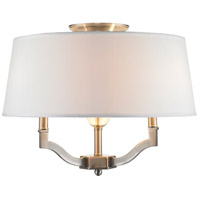 Waverly 3 Light 19 inch Pewter Semi-Flush Ceiling Light in Classic White Shade, Convertible