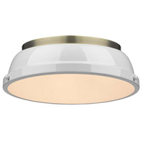 Duncan 2 Light 14 inch Aged Brass Flush Mount Ceiling Light