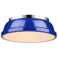Duncan 2 Light 14 inch Chrome Flush Mount Ceiling Light in Blue
