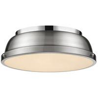 Golden Lighting 3602-14 CH-PW Duncan 2 Light 14 inch Chrome Flush Mount Ceiling Light in Pewter Damp
