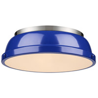 Duncan 2 Light 14 inch Pewter Flush Mount Ceiling Light in Blue