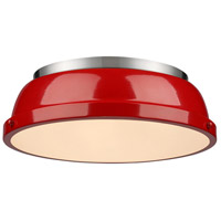 Duncan 2 Light 14 inch Pewter Flush Mount Ceiling Light in Red