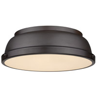 Duncan 2 Light 14 inch Rubbed Bronze Flush Mount Ceiling Light