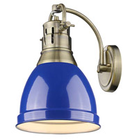 Duncan 1 Light 9 inch Aged Brass Wall Sconce Wall Light in Blue