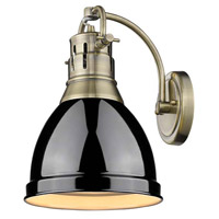 Duncan 1 Light 9 inch Aged Brass Wall Sconce Wall Light in Black