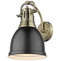 Golden Lighting 3602-1W-AB-BLK Duncan AB 1 Light 9 inch Aged Brass Sconce - Damp Wall Light in Matte Black