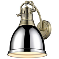 Golden Lighting 3602-1W AB-CH Duncan 1 Light 9 inch Aged Brass Wall Sconce Wall Light in Chrome Damp