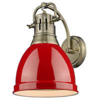 Duncan 1 Light 9 inch Aged Brass Wall Sconce Wall Light in Red