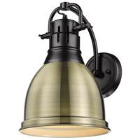 Golden Lighting 3602-1W-BLK-AB Duncan 1 Light 9 inch Matte Black Sconce - Damp Wall Light in Aged Brass