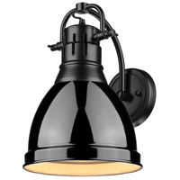 Golden Lighting 3602-1W-BLK-BK Duncan 1 Light 9 inch Black Wall Sconce Wall Light