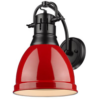 Golden Lighting 3602-1W-BLK-RD Duncan 1 Light 9 inch Black Wall Sconce Wall Light in Red
