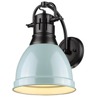 Golden Lighting 3602-1W-BLK-SF Duncan 1 Light 9 inch Black Wall Sconce Wall Light in Seafoam