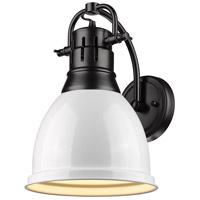 Golden Lighting 3602-1W-BLK-WH Duncan 1 Light 9 inch Black Wall Sconce Wall Light in White