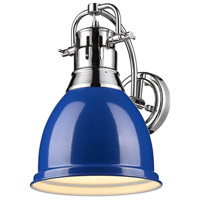 Duncan 1 Light 9 inch Chrome Wall Sconce Wall Light in Blue