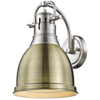 Golden Lighting 3602-1W-PW-AB Duncan 1 Light 9 inch Pewter Sconce - Damp Wall Light in Aged Brass