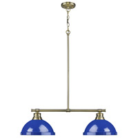 Duncan 2 Light 31 inch Aged Brass Linear Pendant Ceiling Light in Blue