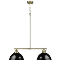 Duncan 2 Light 31 inch Aged Brass Linear Pendant Ceiling Light