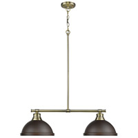 Duncan 2 Light 31 inch Aged Brass Linear Pendant Ceiling Light in Rubbed Bronze