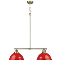 Duncan 2 Light 31 inch Aged Brass Linear Pendant Ceiling Light in Red