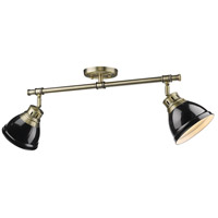 Duncan 2 Light 26 inch Aged Brass Semi-Flush Track Light Ceiling Light in Black