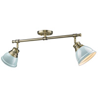 Duncan 2 Light 26 inch Aged Brass Semi-Flush Track Light Ceiling Light in Seafoam