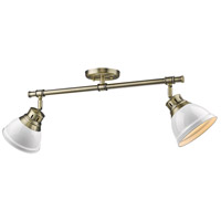 Duncan 2 Light 26 inch Aged Brass Semi-Flush Track Light Ceiling Light in White