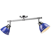 Duncan 2 Light 26 inch Chrome Semi-Flush Track Light Ceiling Light in Blue