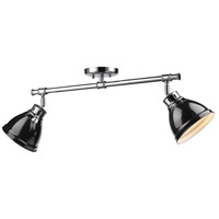 Duncan 2 Light 26 inch Chrome Semi-Flush Track Light Ceiling Light in Black