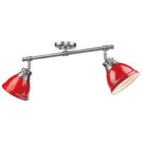 Golden Lighting 3602-2SF-PW-RD Duncan 2 Light 26 inch Pewter Semi-Flush Track Light Ceiling Light in Red