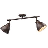 Golden Lighting 3602-2SF-RBZ-RBZ Duncan 2 Light 26 inch Rubbed Bronze Semi-Flush Track Light Ceiling Light in Aged Brass