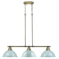 Duncan 3 Light 40 inch Aged Brass Linear Pendant Ceiling Light in Seafoam