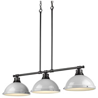Golden Lighting 3602-3LP-BLK-GY Duncan BLK 3 Light 40 inch Black Linear Pendant Ceiling Light in Grey