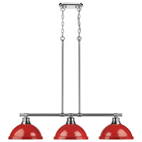 Duncan 3 Light 40 inch Chrome Linear Pendant Ceiling Light in Red