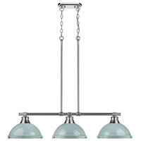 Duncan 3 Light 40 inch Chrome Linear Pendant Ceiling Light in Seafoam
