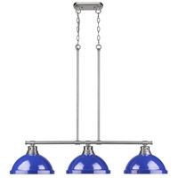 Duncan 3 Light 40 inch Pewter Linear Pendant Ceiling Light in Blue