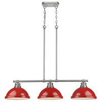 Duncan 3 Light 40 inch Pewter Linear Pendant Ceiling Light in Red