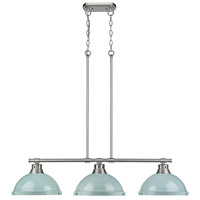 Duncan 3 Light 40 inch Pewter Linear Pendant Ceiling Light in Seafoam
