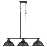 Duncan 3 Light 40 inch Rubbed Bronze Linear Pendant Ceiling Light
