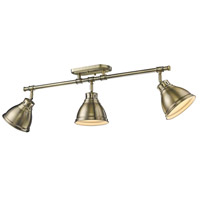 Golden Lighting 3602-3SF-AB-AB Duncan 3 Light 35 inch Aged Brass Semi-Flush Track Light Ceiling Light