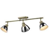 Golden Lighting 3602-3SF AB-CH Duncan 3 Light 35 inch Aged Brass Semi-Flush Ceiling Light in Chrome Damp