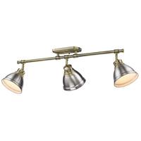 Golden Lighting 3602-3SF AB-PW Duncan 3 Light 35 inch Aged Brass Semi-Flush Ceiling Light in Pewter Damp