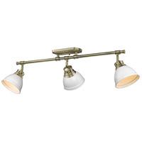 Golden Lighting 3602-3SF-AB-WHT Duncan 3 Light 35 inch Aged Brass Semi-flush - Damp Ceiling Light in Matte White