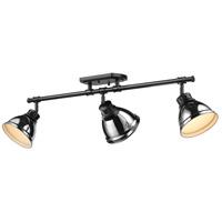 Golden Lighting 3602-3SF BLK-CH Duncan 3 Light 35 inch Matte Black Semi-Flush Ceiling Light in Chrome Damp