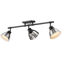 Golden Lighting 3602-3SF BLK-PW Duncan 3 Light 35 inch Matte Black Semi-Flush Ceiling Light in Pewter Damp