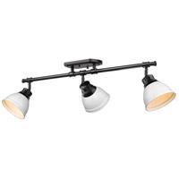 Golden Lighting 3602-3SF-BLK-WHT Duncan 3 Light 35 inch Matte Black Semi-flush - Damp Ceiling Light in Matte White
