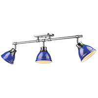 Duncan 3 Light 35 inch Chrome Semi-Flush Track Light Ceiling Light in Blue