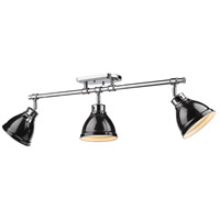 Duncan 3 Light 35 inch Chrome Semi-Flush Track Light Ceiling Light in Black