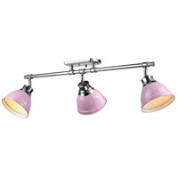 Duncan 3 Light 35 inch Chrome Semi-Flush Track Light Ceiling Light in Pink